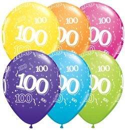 5 Zahlenballons 100 Qualatex, Tropical-Mix, ca. 30 cm