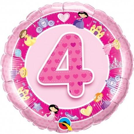 Folienballon 4 rosa/pink, Prinzessin, ca. 45 cm