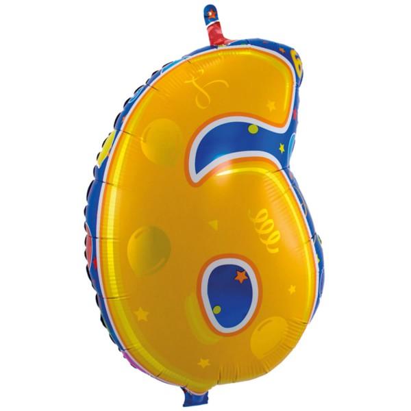 Ballongruß: Zahl 6 bunt, ca. 53 cm