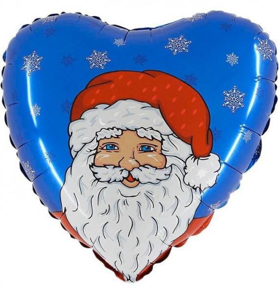 Ballongruß: Weihnachtsmann blau/rot/weiß, Herzballon, ca. 45 cm