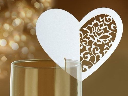 Tischkarten für Gläser, Herz mit Ausstanzung, cremeweiß, 10 St.