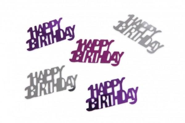 Folien-Konfetti Happy Birthday silber/pink, Box ca. 5,7x4x1,2 cm