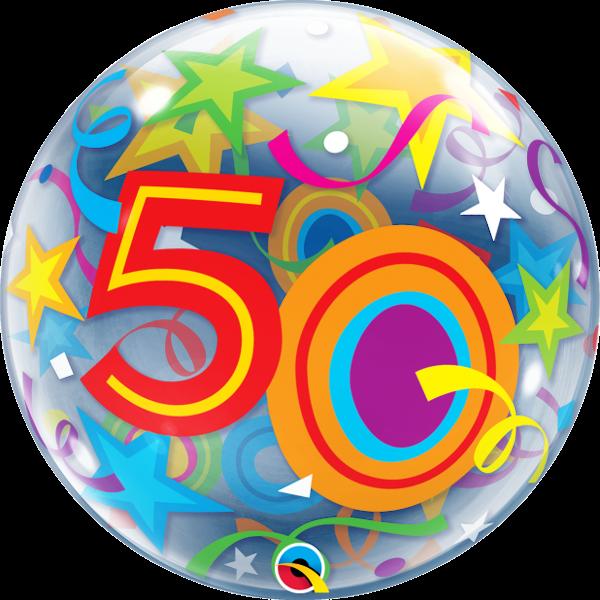 Bubble 50 bunt Qualatex, ca. 56 cm