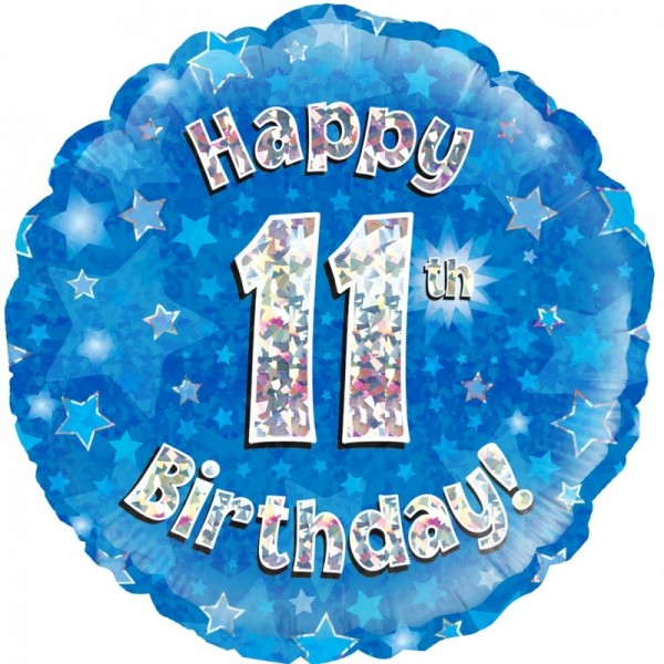 Folienballon Happy 11th Birthday BLAU, ca. 45 cm