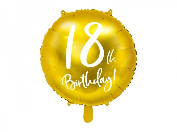 Folienballon 18th Birthday, gold/weiß, ca. 45 cm