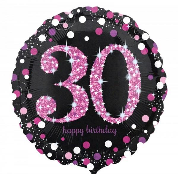 Folienballon 30 schwarz/weiß/pink, ca. 45 cm