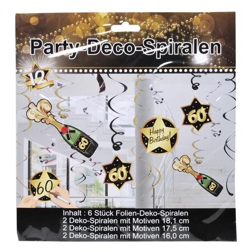 Deko-Spiralen 60 schwarz/gold, 6 St.
