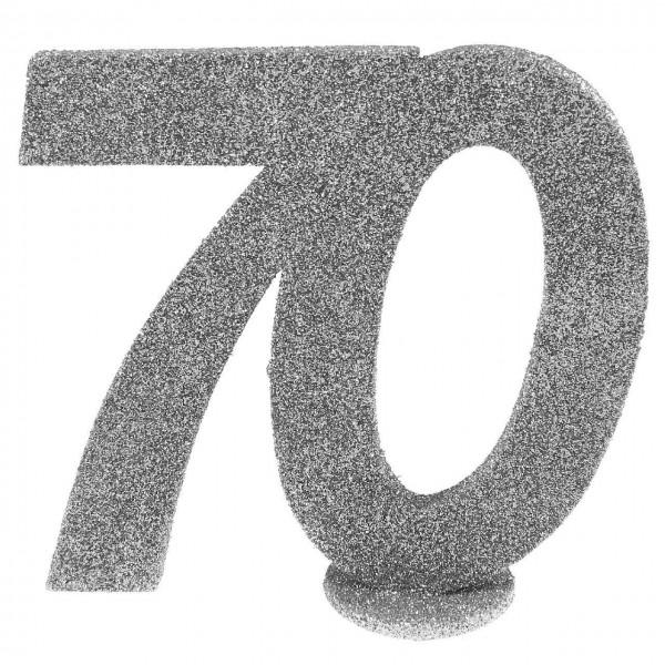 Dekozahl 70 silber, ca. 10x9 cm, stehend, 1 St.