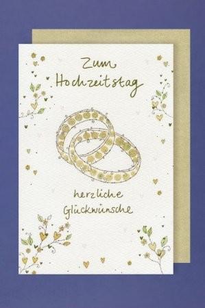 Grußkarte: Zum Hochzeitstag herzliche Glückwünsche, Ringe