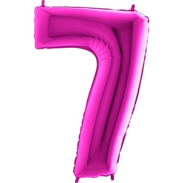 Folienballon Zahl 7, ca. 100 cm, pink