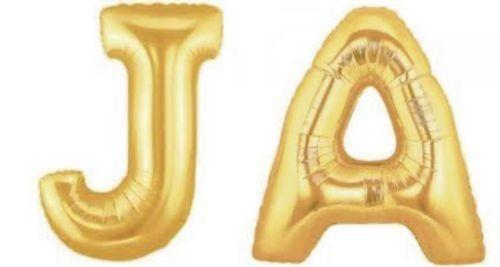 Folienballons Buchstaben JA, gold, ca. 100 cm