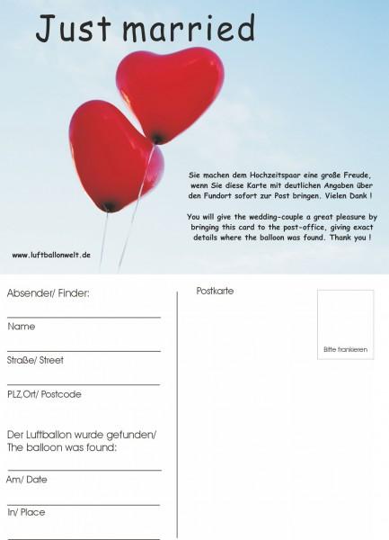 Ballonflugkarten, 50 St., Just married 2 Herzballons