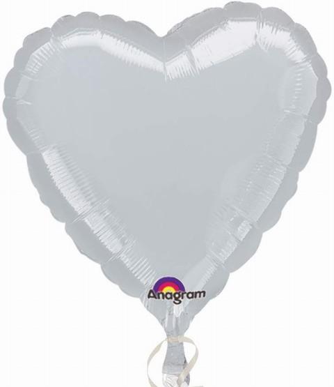 Ballongruß XL: Riesenherz, silber, 90 cm