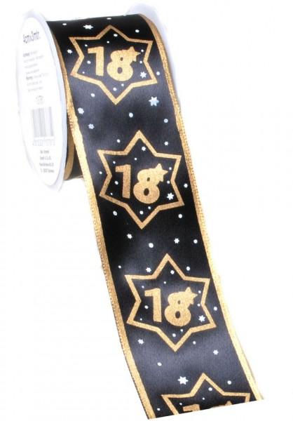 Geschenkband 18 schwarz/gold, 4 cm x 3 Meter
