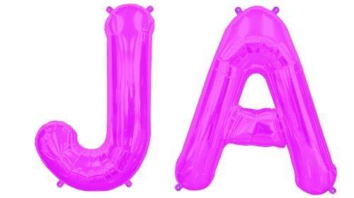 Folienballons Buchstaben JA, pink, ca. 35 cm