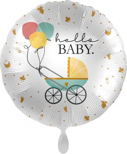 Folienballon hello Baby Kinderwagen, ca. 71 cm