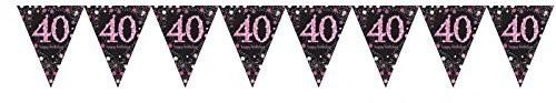 Wimpelkette 40 schwarz/weiß/pink, 4 Meter