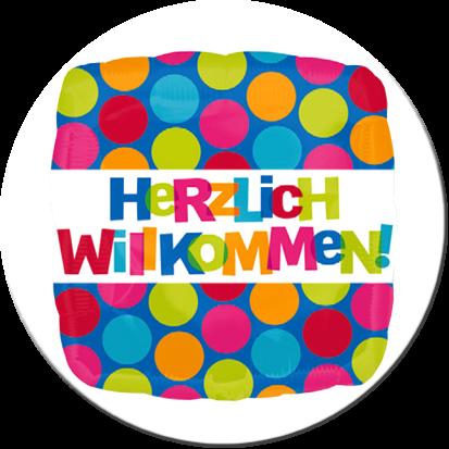 Ballongruß: Herzlich Willkommen, Viereck, ca. 45 cm
