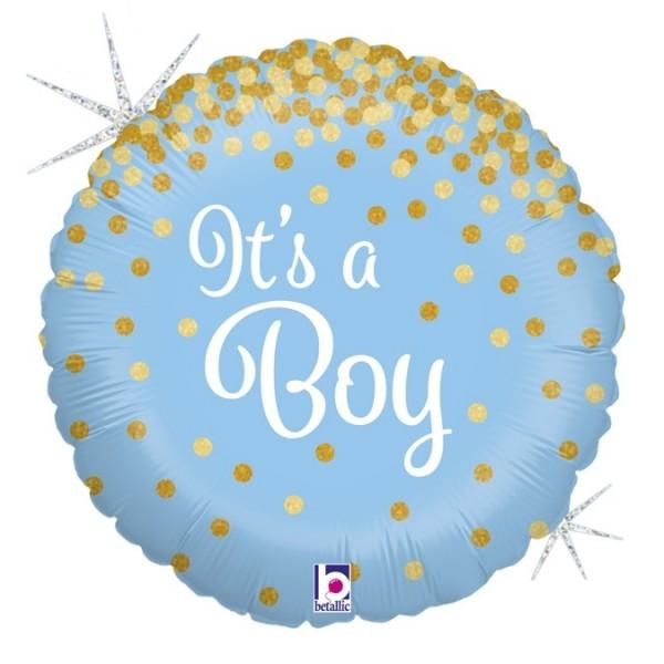 """Folienballon in blau mit weißem """"It's a Boy"""" Schriftzug und goldenen Punkten, ca. 45 cm Durchmesser"""