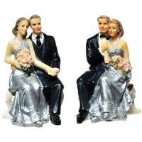 Brautpaar Silberhochzeit, sitzend, Polystone, klein