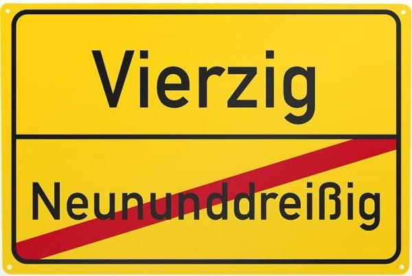 Blechschild Neununddreißg / Vierzig, ca. 30 x 20 cm