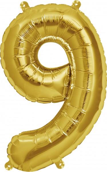 Folienballon Zahl 9, ca. 35 cm, GOLD, für Luftbefüllung