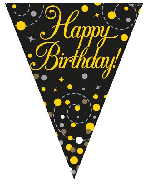 Wimpelkette Happy Birthday, schwarz/gold ca. 3,9 Meter