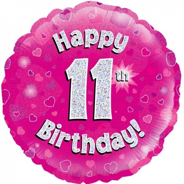 Folienballon Happy 11th Birthday PINK, ca. 45 cm