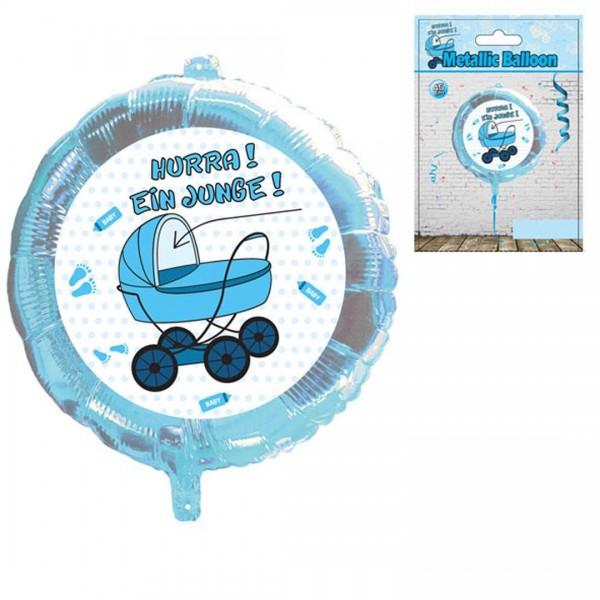 """Folienballon mit """"Hurra! Ein Junge!"""" Schriftzug und blauem Kinderwagen Motiv, ca. 45 cm Durchmesser"""