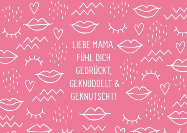 Postkarte Liebe Mama, fühl Dich gedrückt, geknuddelt & geknutscht, ca. 15x10 cm