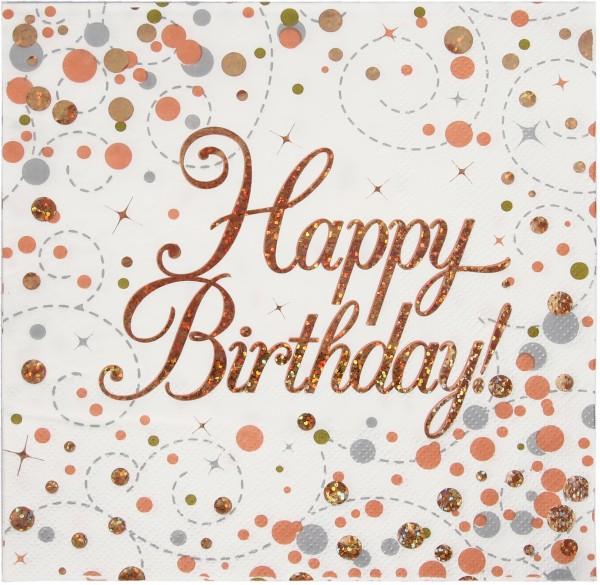 Servietten Happy Birthday Konfetti rosegold weiß ca. 33x33 cm, 16 St
