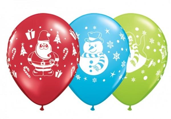 5 Ballons Weihnachtsmann/ Pinguin/ Schneemann, Qualatex, ca. 30 cm, sortiert