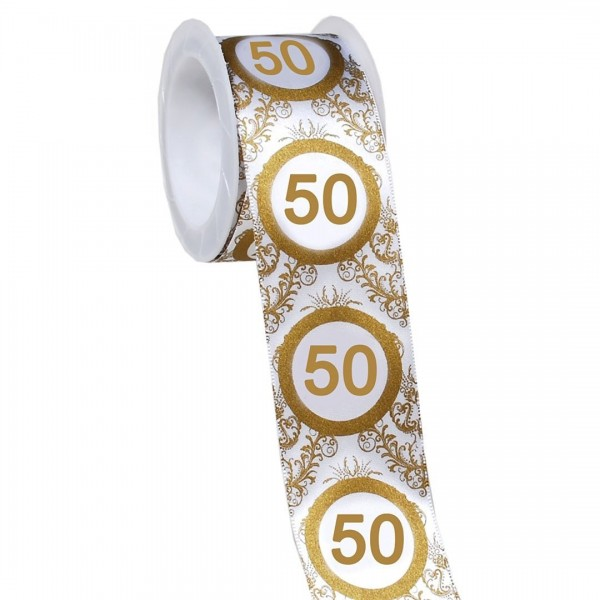 Geschenkband 50 gold/weiß, 4 cm x 3 Meter