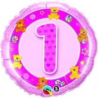 Folienballon 1, Teddy + Bauklötze, rosa, ca. 45 cm