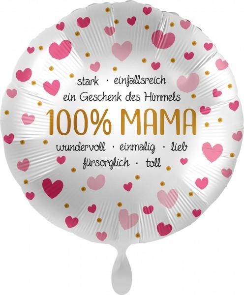 Folienballon 100% Mama, ca. 45 cm