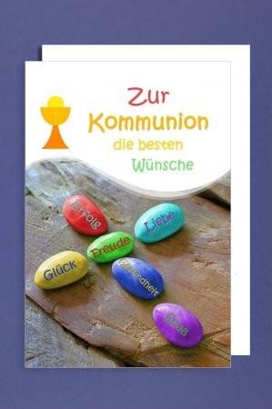 Grußkarte: Zur Kommunion die bestern Wünsche - bunte Steine