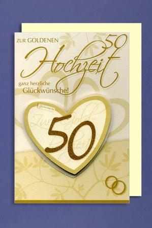 Grußkarte Zur Goldenen Hochzeit 50 Ganz Herzliche Glückwünsche