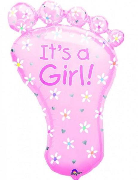 Ballongruß XL: Fußabdruck, Girl, ca. 70 cm