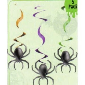 Swirl-Deko Spinnen, 5 Stück, ca. 60 cm