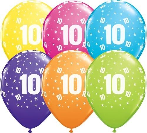 Zahlenballons 10, Qualatex, ca. 30 cm, 6 St.