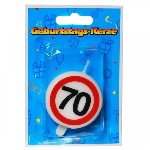 Zahlenkerze 70 Verkehrsschild, ca. 5 cm