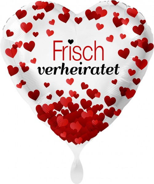 Ballongruß XL: Herz Frisch verheiratet, rote Herzchen ca. 70 cm