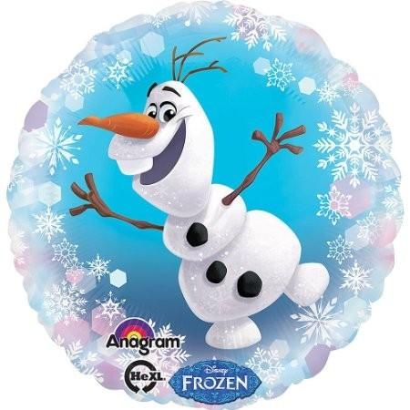 Ballongruß: Frozen Schneemann Olaf, Schneeflocken, pastellfarben, ca. 45 cm