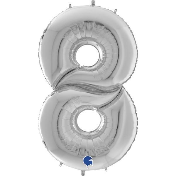 XXL Folienballon Zahl 8, ca. 163 cm, silber