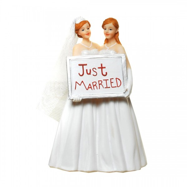 Brautpaar Frauen mit Schild Just married, ca. 15 cm