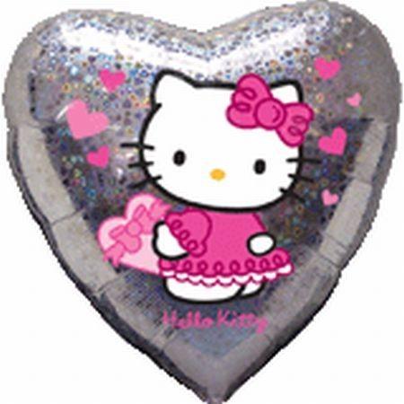 Ballongruß: Hello Kitty, Herz, Holografie, ca. 45 cm