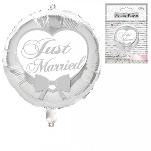Folienballon Just married Herz mit Schleife, silber/weiß, ca. 45 cm