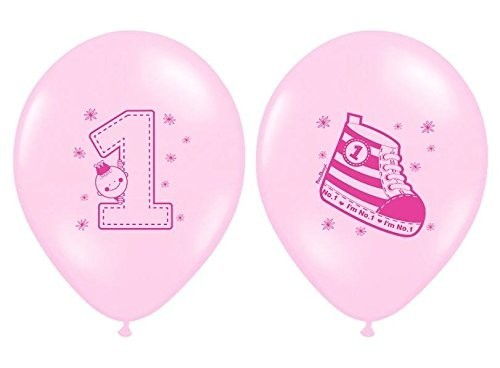 Zahlenballons 1 & Turnschuh, rosa, ca. 30 cm, 6 St.