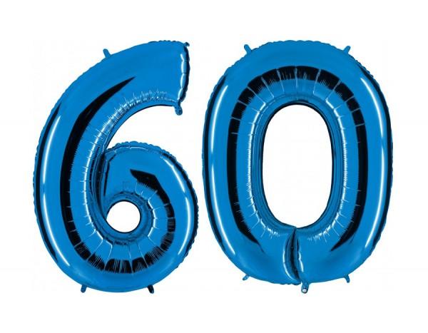 Folienballon Set Zahl 60, ca. 100 cm, blau