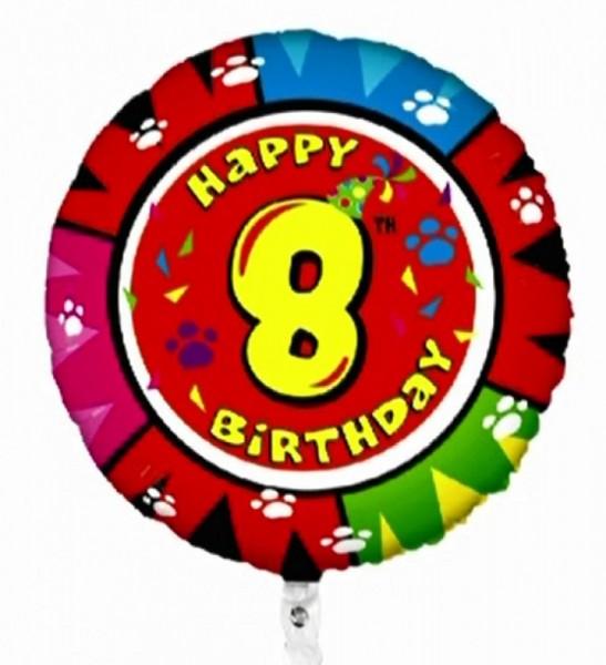Ballongruß: Happy 8th Birthday, Animaloons, ca. 50 cm